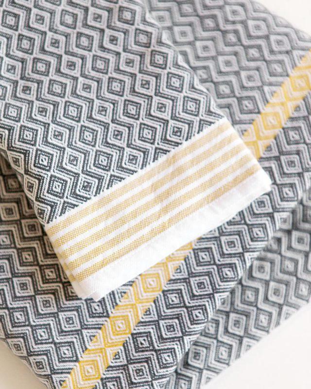 Cango Grey Itawuli Flat Weave Towel, woven by Mungo