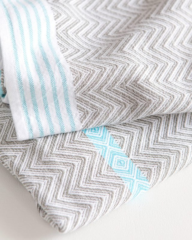 Mungo Tawulo hand towels in greay with an aqua stripe