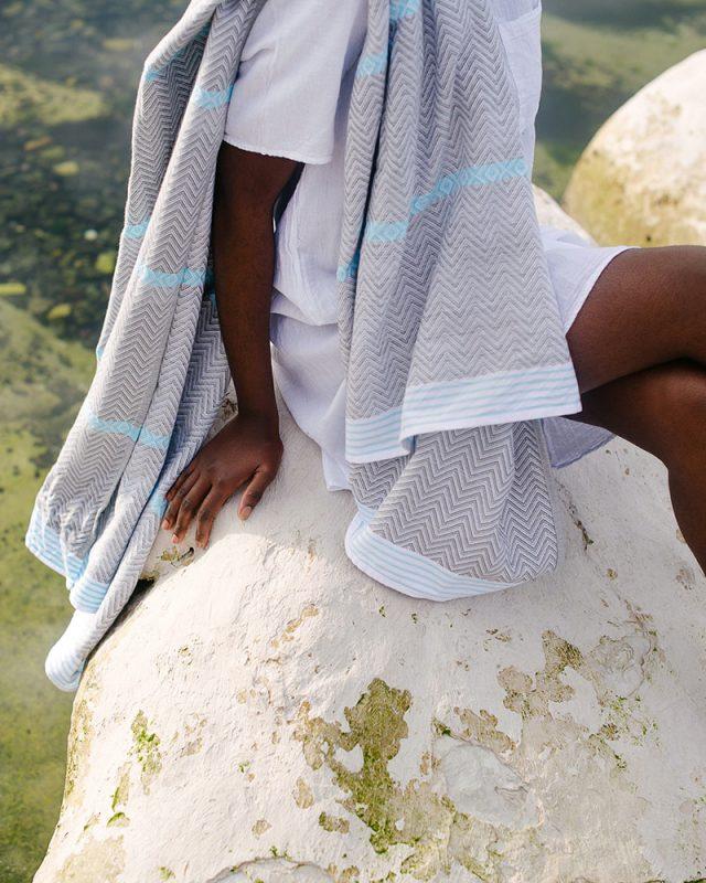 Mungo tawulo towel in the aqua colourway