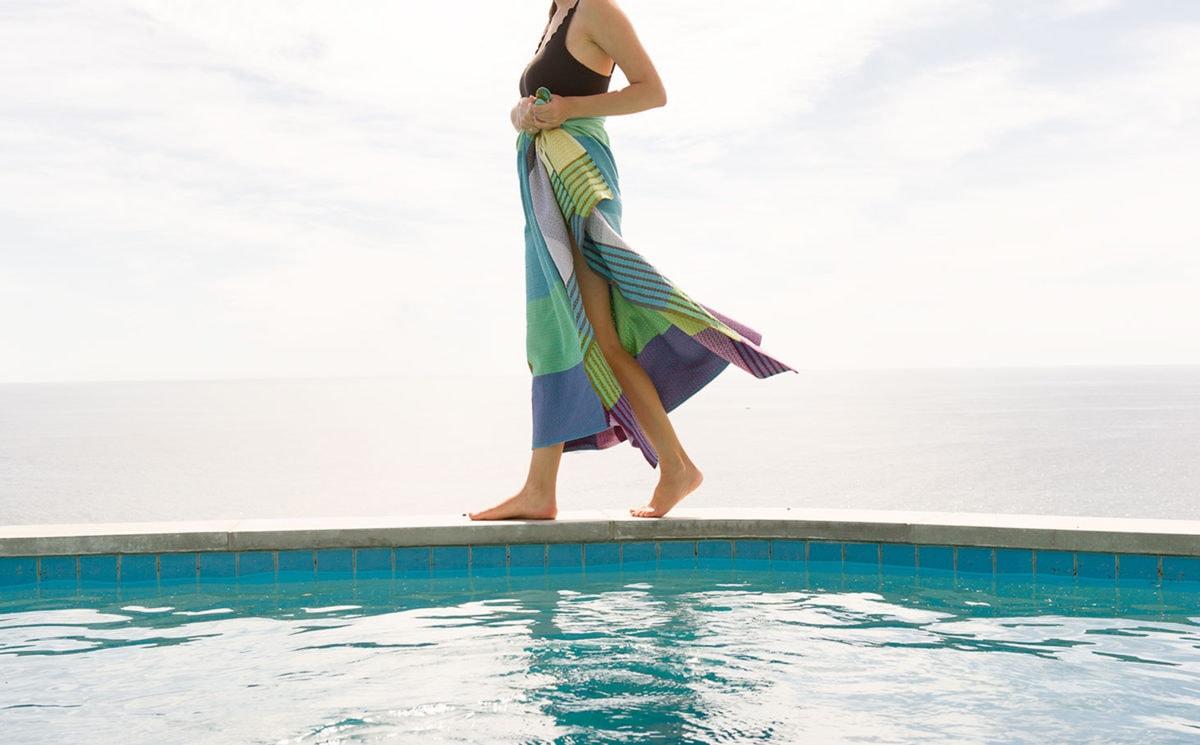Pool scene with a Mungo Folly Beach Towel